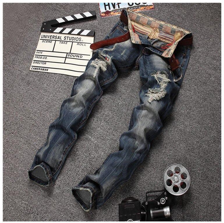 ФОТО Fashion Punk Ripped Jeans Men Destroyed Jeans Brand Scratched Biker Jeans Hole Zipper Denim Designer Skinny Jeans Size 30-38