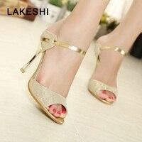 High Heels Sandals Gold Sliver Ankle Wrap 2015 Women Sandals Beautiful Ladies Sandals Summer Shoes Gladiator