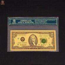 Papel moneda de estados unidos de gran oferta, 2 Billetes de dólar en oro de 24 quilates, billetes falsos colecciones y regalo divertido