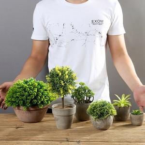 Image 3 - Erythrina 바다 미니 화분 인공 즙이 많은 식물 분재 세트 가짜 꽃병 장식 꽃 홈 발코니 장식