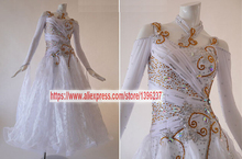 Ballroom Dance Dresses Adult New Design White Color Tango Flamenco Modren Waltz Ballroom Competition Dress Women