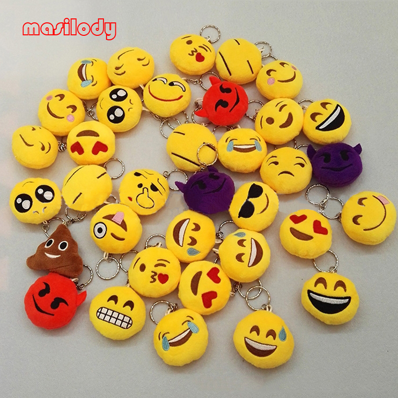 mixed set of 5 Plush Emoji Keychain toy