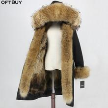 OFTBUY X long Parka Waterproof Fabric Winter Jacket Women Real Fur Coat Natural Raccoon Fur Collar Hood Fox Fur Liner Detachable