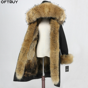 Image 1 - OFTBUY x ロングパーカー防水生地冬のジャケットの女性本物の毛皮のコート毛皮の襟フードキツネの毛皮ライナー着脱式