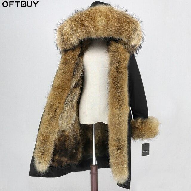 OFTBUY x ロングパーカー防水生地冬のジャケットの女性本物の毛皮のコート毛皮の襟フードキツネの毛皮ライナー着脱式