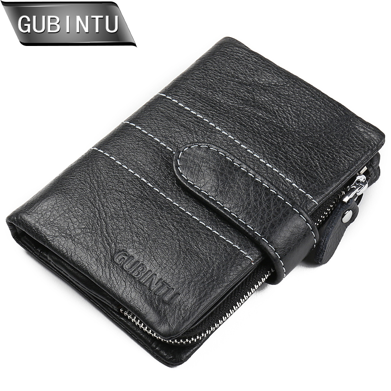 GUBINTU 2018 European and American Style men wallet genuine leather wallets fashion zipper coin pocket purse card holder purses men teens fashion cool purse american