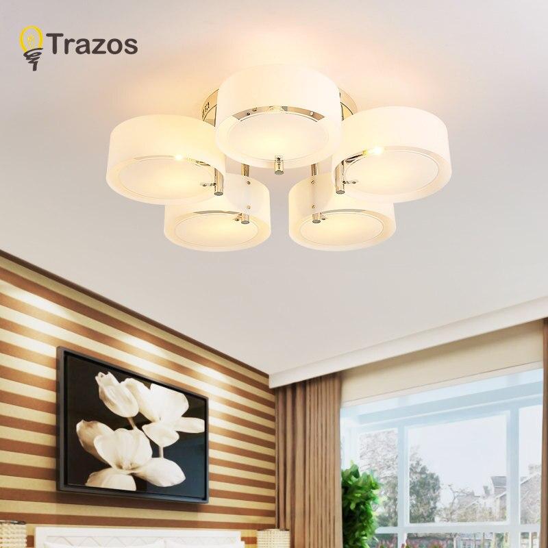 NOUVEAU Moderne Plafonniers moderne à la mode conception salle à manger lampe pendente de teto de cristal blanc ombre acrylique lustre