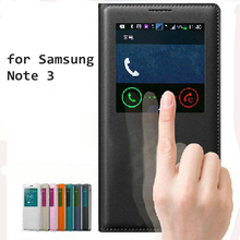Note3 Smart Case Front Window View Phone Housing Luxury Leather Flip Case For samsung galaxy note 3 N9000 Coque Cover Bags Funda cool protective plastic tpu case for samsung galaxy note 3 n9000 white black