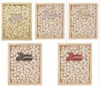 אישית חקוק שם ושם עץ כפרי חתונת ספר אורחים סגנון זרוק מתנות עיצוב תיבת מסגרת העליונה עם לבבות אהבה לטובת