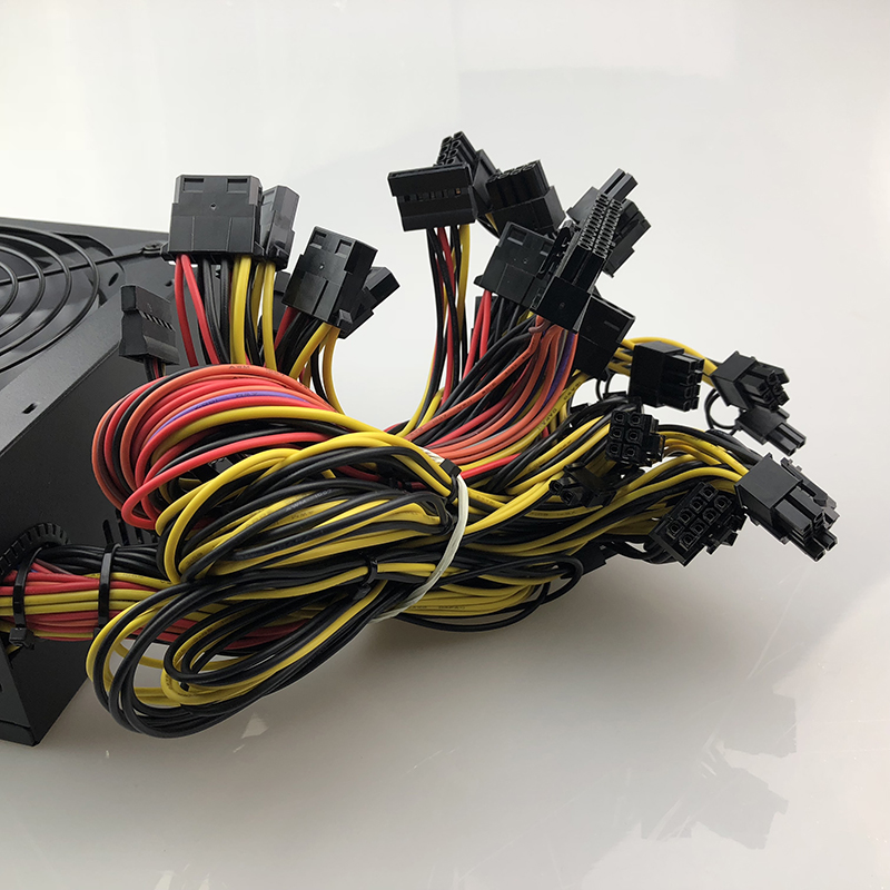Купить с кэшбэком 1800W Mining PC Power Supply 1800W Computer Power PSU 24pin for Bitcoin Miner R9 380/390 RX 470/480 RX 570 1060 for Antminer PSU