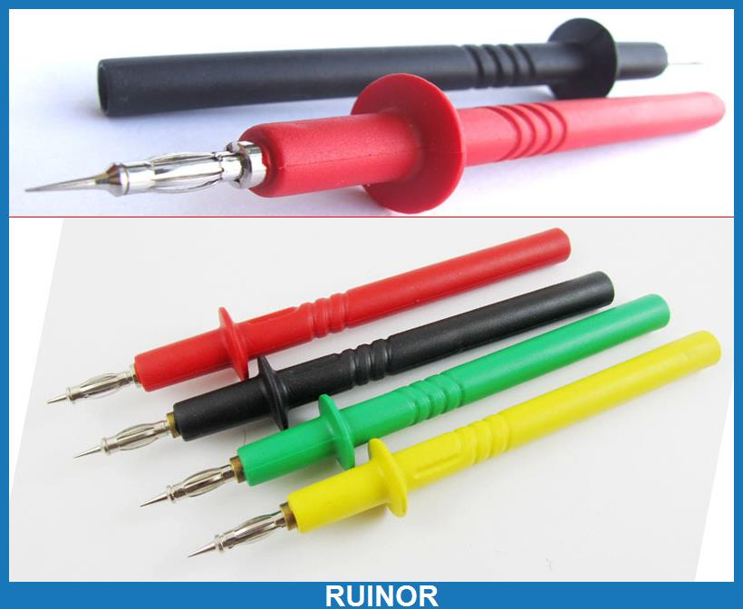ФОТО 4pcs Colrs Copper Silicone Multimeter Pen Test Probes Barbed for 4mm Banana Jack