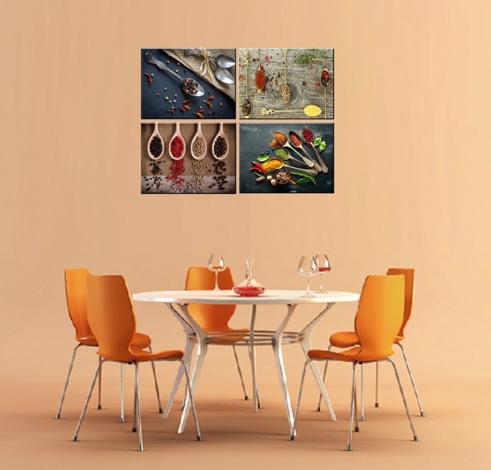 Canvas Prints for Kitchen Wall Decor, 4 Piece Set Spice and Spoon ...