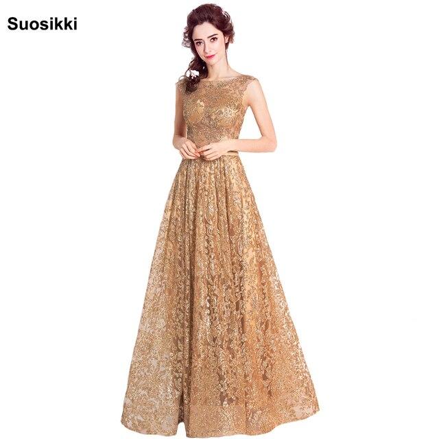 Tüll pailletten Muslimischen Gold Abendkleid Lange Formale kleid ...