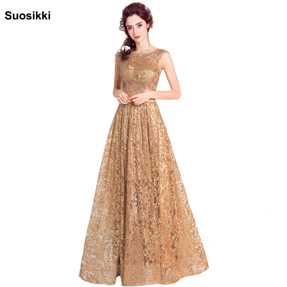 Tulle sequined Muslim Gold Evening Dress Long Formal gown Prom Robe ...