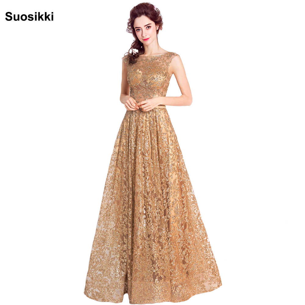 fd2aa0cb59268 Detail Feedback Questions about Tulle sequined Muslim Gold Evening ...