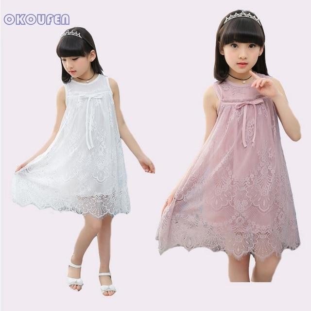 a65724821d44 Niños Vestidos Para Niñas de Encaje Sin Mangas Vestidos de Fiesta 4 8 10 12  Años