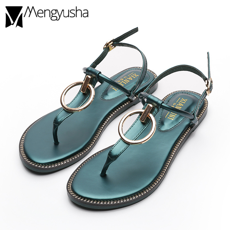 9fd687ae04 Detail Feedback Questions about women high quality sandals summer woman  microfiber leather sandals metal circle ring decorate narrow band roman  sandals 2018 ...