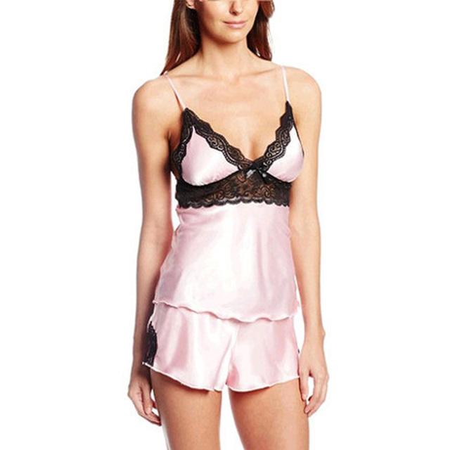 Top Sale Ladies Sexy Silk Satin Cami and Shorts Set Lace Nightgowns Comfy Pajamas Pretty Nighties Artificial Silk Sleepwear Set