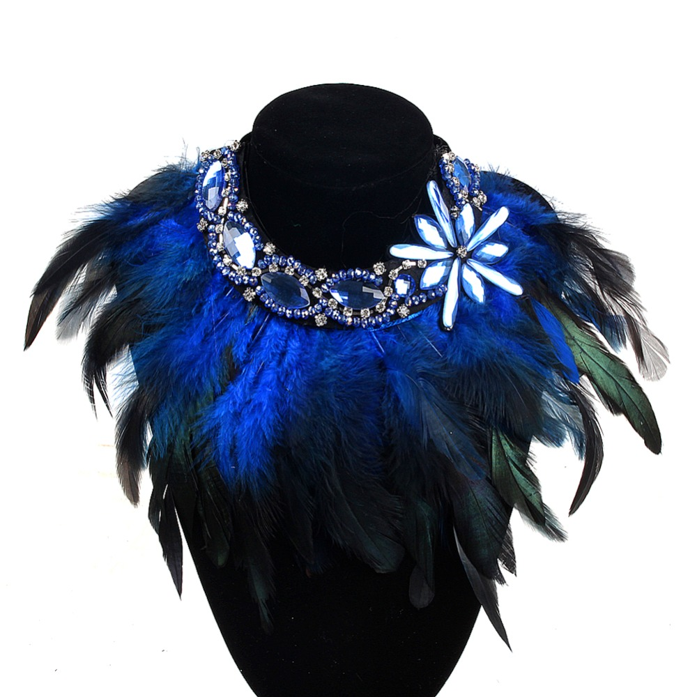 ZMZY High Quality Fashionable New Design Chunky Statement Chain Pendant Choker Feather Necklace For Women Christmas Gifts