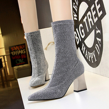 New Fashion Bling Women Boots Sequined Cloth Women High Heels Pointed Toe Classic Women Shoes She ERA все цены