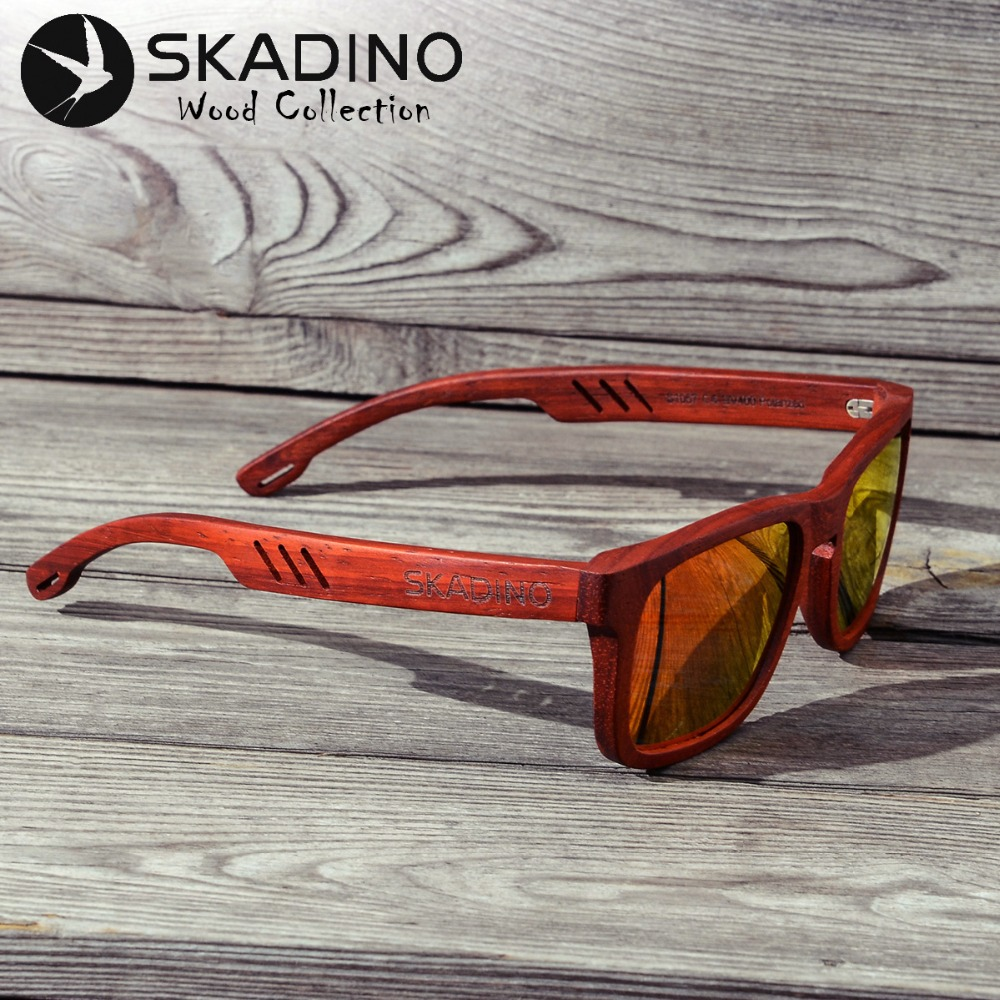 SKADINO UV400 Polarized Red Rose Full Wood Sunglasses Fashion Sun Glasses for Women Men Coated Gray