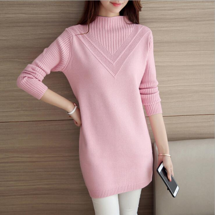 2018 New Women Christmas Sweaters And Pullovers Long Sleeve Long Knitted Sweater Dress Casual Solid Winter jumper Pull Femme