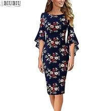 BIUBIU Floral Print Dress For Women Boho Sexy O-Neck Full Flare Sleeve Midi Party Tunic Woman Sheath Office Lady Vestidos