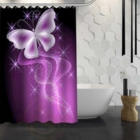 Hot Sale Custom Colorful classic butterfly pattern Shower Curtain Waterproof Fabric Shower Curtain for Bathroom F#Y1-17