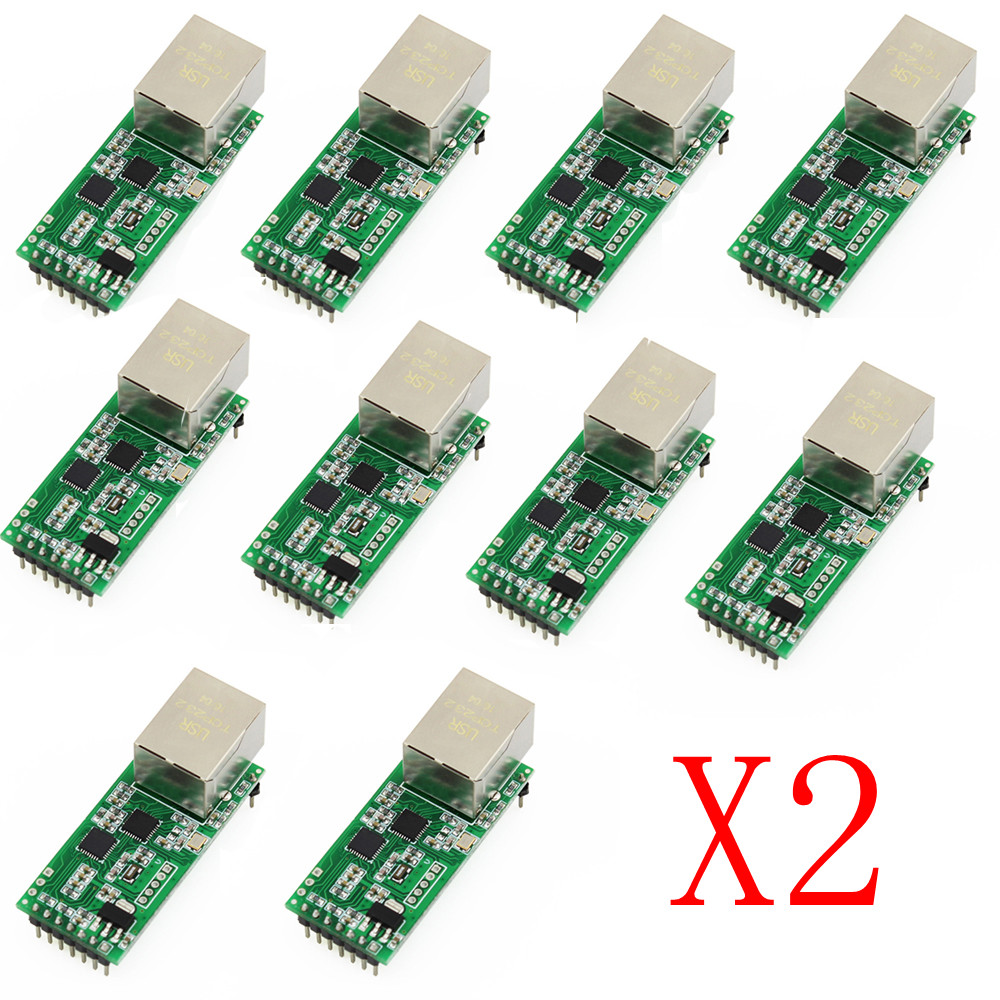 20PCS USRIOT USR-TCP232-T2 Tiny Serial Ethernet Converter Module Serial UART TTL To Ethernet TCPIP With HTTPD Client RJ45 Port