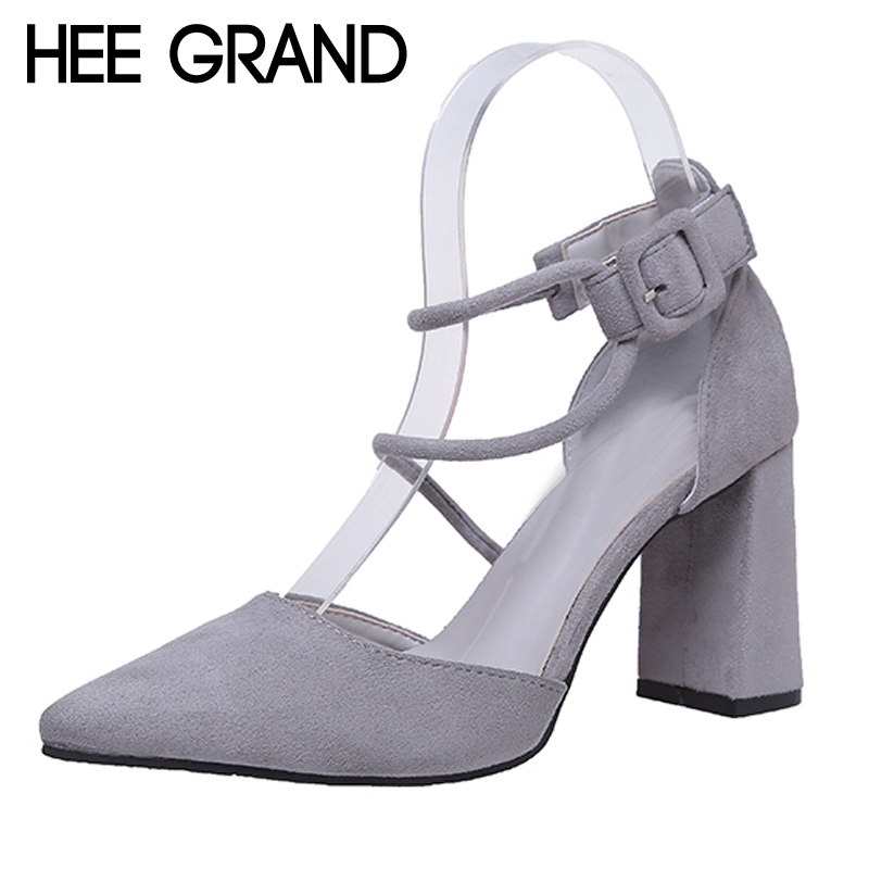 HEE GRAND Summer Flock High Heels 2017 Pointed Toe Wedding Shoes Woman Casual Gladiator Sandals Sexy Platform Pumps XWZ4195 hee grand 2017 gladiator sandals gold silver shoes woman summer platform wedges glitters high heels casual women shoes xwz4018