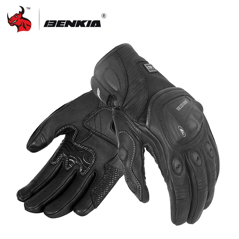 BENKIA Retro Perforated Leather Motorcycle Gloves Black Men Motocross Gloves Luvas Da Motocicleta Luvas Da Motocicleta