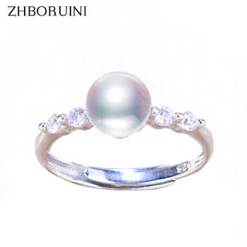 ZHBORUINI 2019 Fashion Pearl Ring Simple Zircon Natural Freshwater Rings 925 Sterling Silver Jewelry For Women