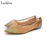 Luchfive תמציתי נשים נעלי חתונה כלה פאייטים בלינג בלינג קריסטל משובץ נעלי העקב שטוח הבוהן מחודדת נצנצים רשת