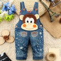 75-95cm Height Infant Children's Jeans 2017 Fashion Cute Animal Boy Clothes Kids Suspenders Girl Denim Overalls Baby Bib Set