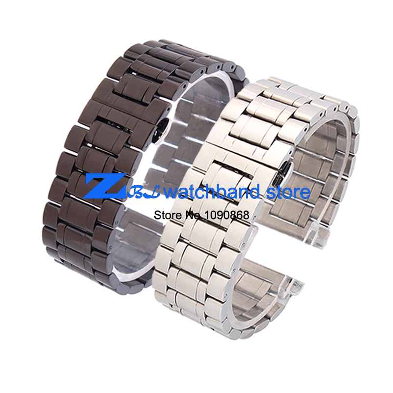 solid Stainless steel Watchband metal watch strap bracelet butterfly buckle black 18mm 20mm 22mm 24mm 26mm 28mm 30mm цена и фото