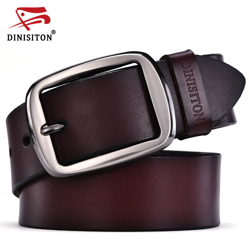 DINISITON Men Luxury Belts Top Cowboy Genuine Leather Belt Mens Leather Belts With Buckle Belts Fashion Vintage Black Coffee