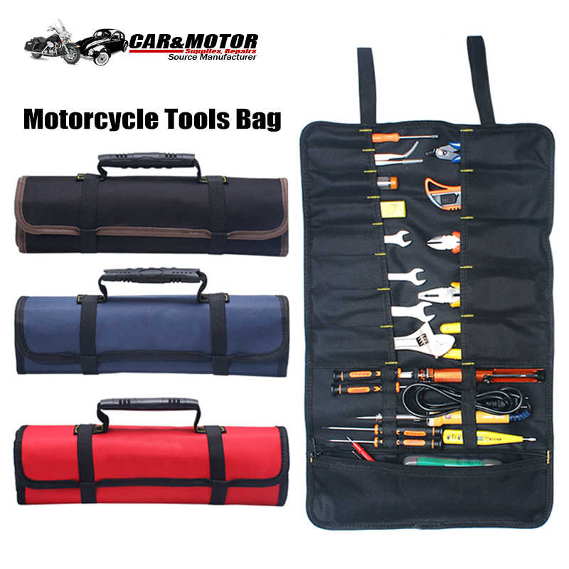 Universal Motorcycle Tools Bag Multifunction Oxford Pocket Toolkit Rolled Bag Portable Large Capacity Bags For BMW R1200GS