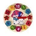 Деревянный 12 Номер Красочная Головоломка Цифровой Геометрии Часы Детские Развивающие Деревянные Часы Игрушки для Детей детские Игрушки Подарки