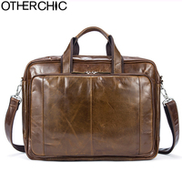 OTHERCHIC Luxury Spacious Portfolios Briefcase Genuine Leather Business Bag Vintage Men Messenger Bags Lawyer Handbag L