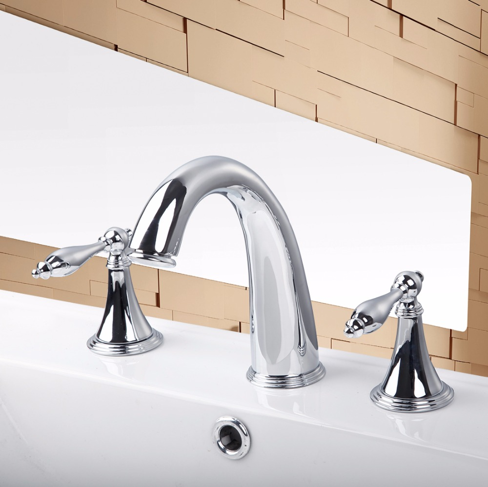 Double Handles  Deck Mounted Brass Body Chrome Finish Stream Bathroom Bathtub Basin Sink Mixer Tap 3 Pieces Faucet Set PL-30H free shipping polished chrome finish new wall mounted waterfall bathroom bathtub handheld shower tap mixer faucet yt 5333