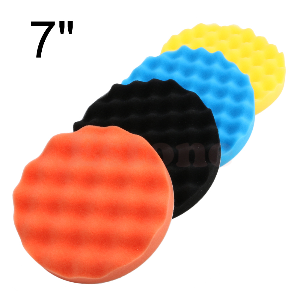 4Pcs 7 Inch (180mm) Buffing Polishing Sponge Pads Kit For Car Polisher Buffer