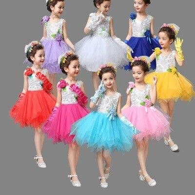 Children s performance clothing Children s dance girls princess Shaqun Puff skirt small host Chorus performance clothing DO37