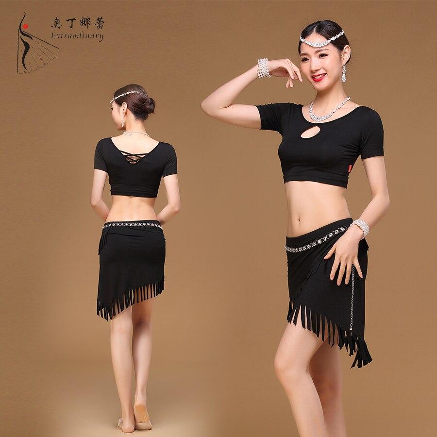 Belly Dance Suite leotard female adult short sleeved summer tassel Skirt Costume ...