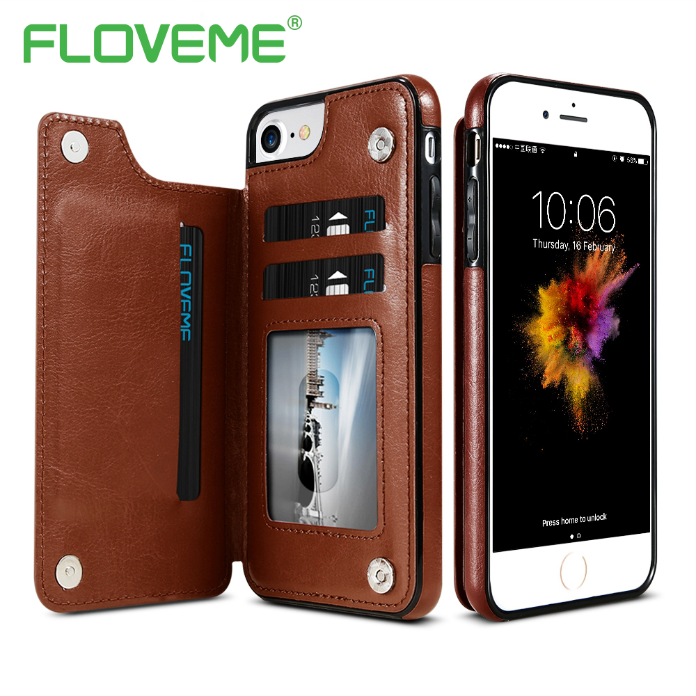 FLOVEME Luxury Wallet Case For iPhone 6 6S Plus X Bracket Type Leather Card Holder Kickstand Flip Back Cover For iPhone 7 8 Plus