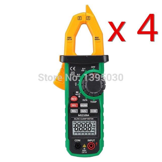4PCS/Lot MS2109A True RMS Digital AC DC Clamp Meter 600A Ohm HZ Temp NCV RC Test Tester uyigao ua6050a 3 1 2 ac digital clamp meter 1500a with ncv