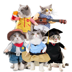 Funny Pet Costume Dog Clothes Cat Apparel Halloween Outfit Cowboy Policeman Boxer Doctor Nurse Style Drop Ship