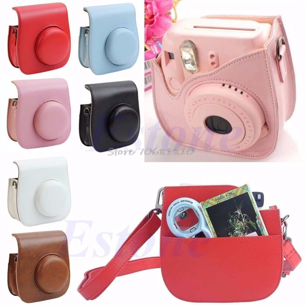 Leather Camera Shoulder Strap Bag Protect Case Pouch For Fujifilm Instax Mini 8 #R179T# Drop shipping