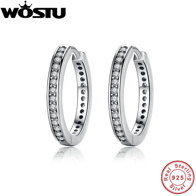 High Quality 100 925 Sterling Silver Party Eternity Hoop Earrings With Clear Cz For Women