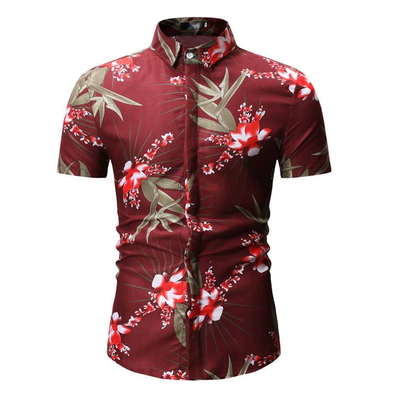 Новые летние мужские с коротким рукавом пляжный Гавайские рубашки хлопок повседневные Цветочные стандартные для рубашек плюс размер 3XL мужская одежда мода 5z
