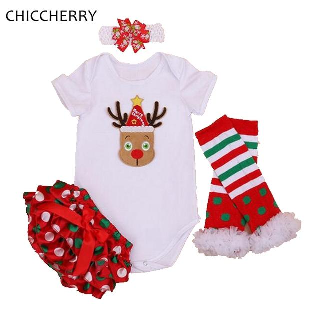 Conjunto de Roupas Da Menina Do Natal da rena Do Bebê Bodysuit Bebê Recém-nascido Bloomer Headband Pontos Legwarmer Corpo Bebe De Menina Infantil-roupas
